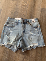 Just Because Distressed Jean Short