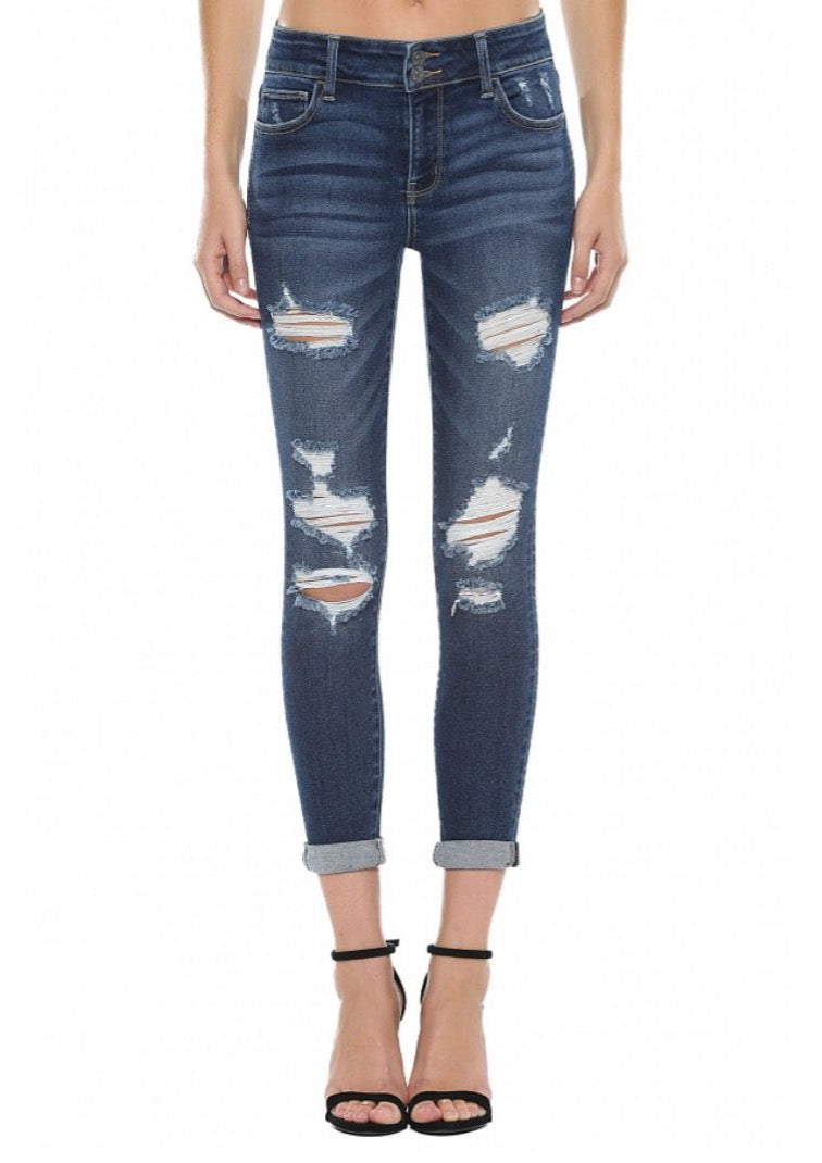 Mid Rise Distress Crop Skinny