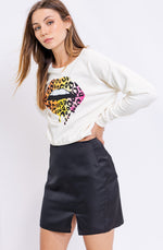 Leopard Lips Pullover Tee