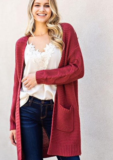 Winters With You Braided Cardigan