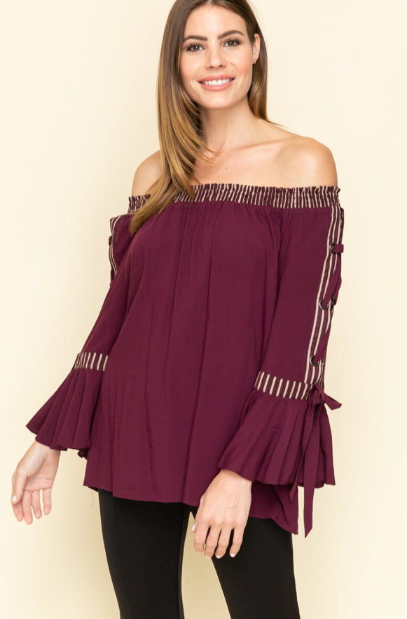 Stripe Banded Smocking Lace Up Sleeve Off The Shoulder Top