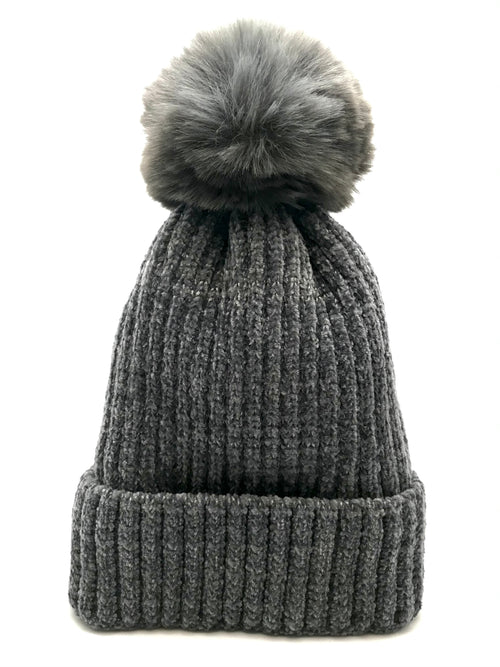 Furry Pom Knit Hat