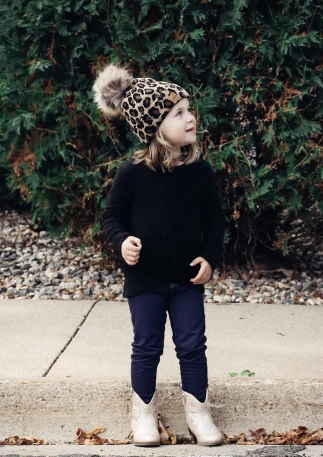 Kids Cheetah Print Hat with Pom