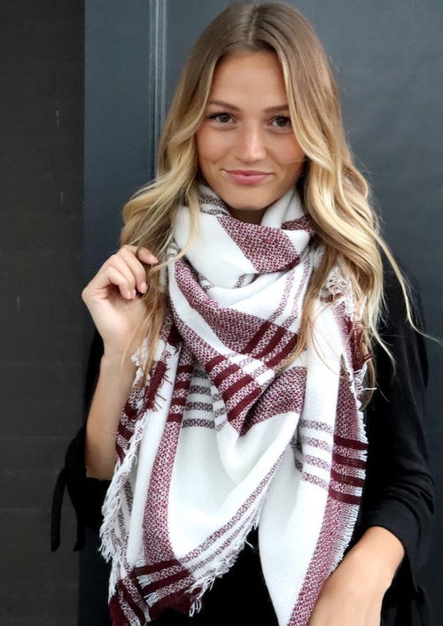 Red Striped Blanket Scarf