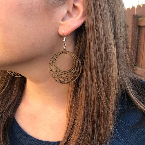 Geometric Circle Lightweight Wood Earrings