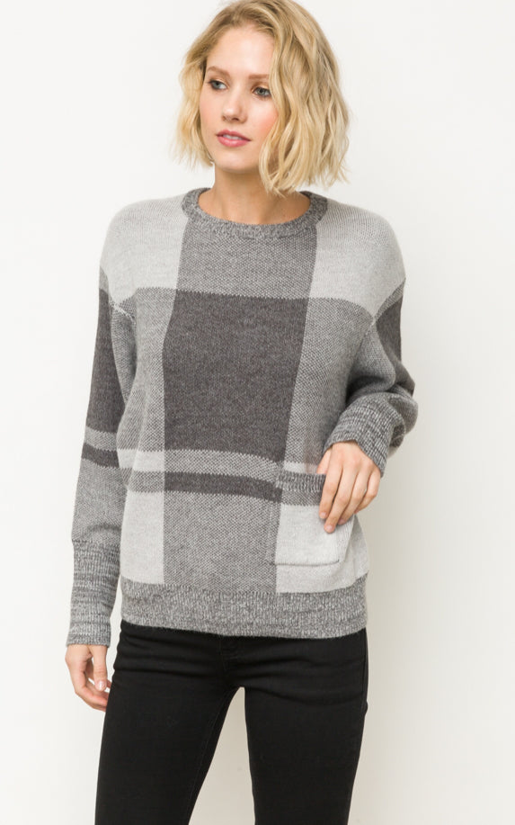 Grey Checkered Sweater With Pocket