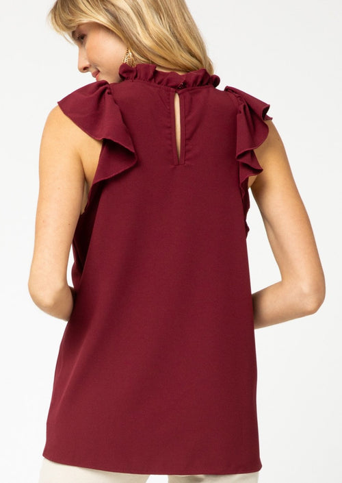 Burgundy sleeveless blouse