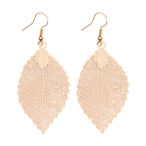 Fine Filigree Leaf Hook Earrings
