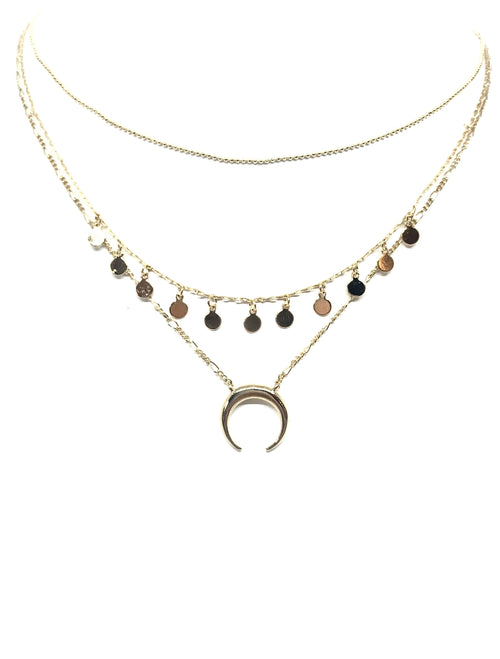 Three Layered Crescent Horn Necklace