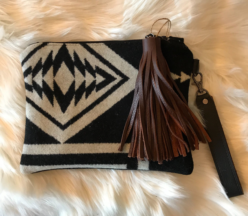 Brown Fringe Aztec Clutch