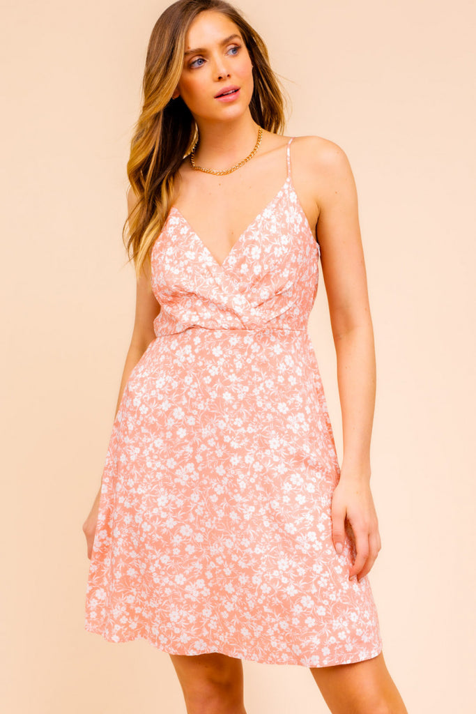Spa Strap Surplice Top Floral Print Dress