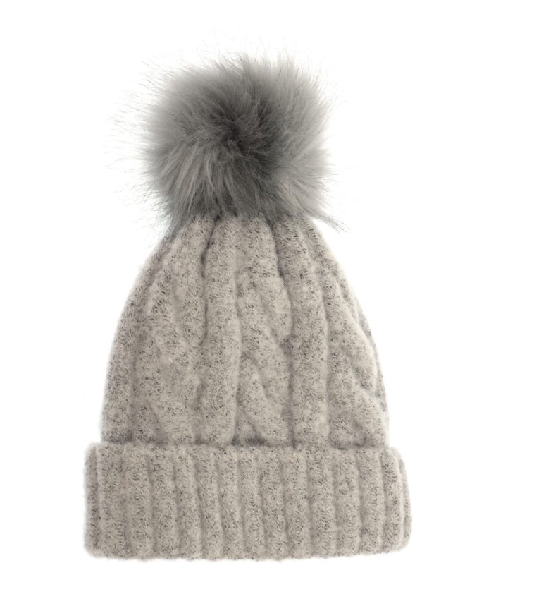 Soft Cable Knit Pom Pom Hat