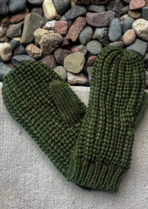 Olive Knit Fleece Lined Mittens