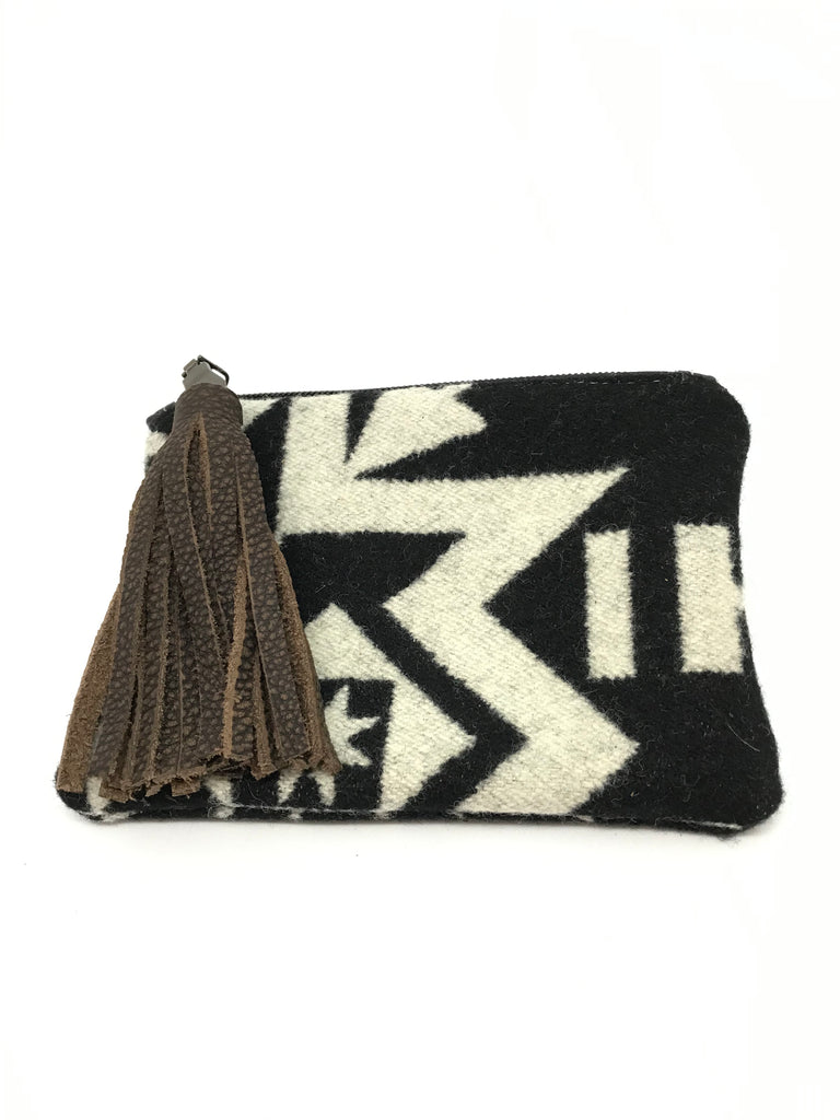Brown Tassel/ Black Aztec Pattern Coin Purse