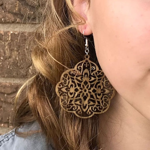 Bohemian Birch Wood Medallion Earrings