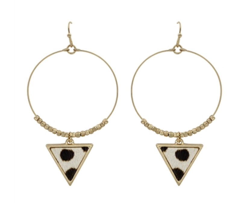 "Gold Hoop With Cheetah Print Triangle Drop 2"" Earring"