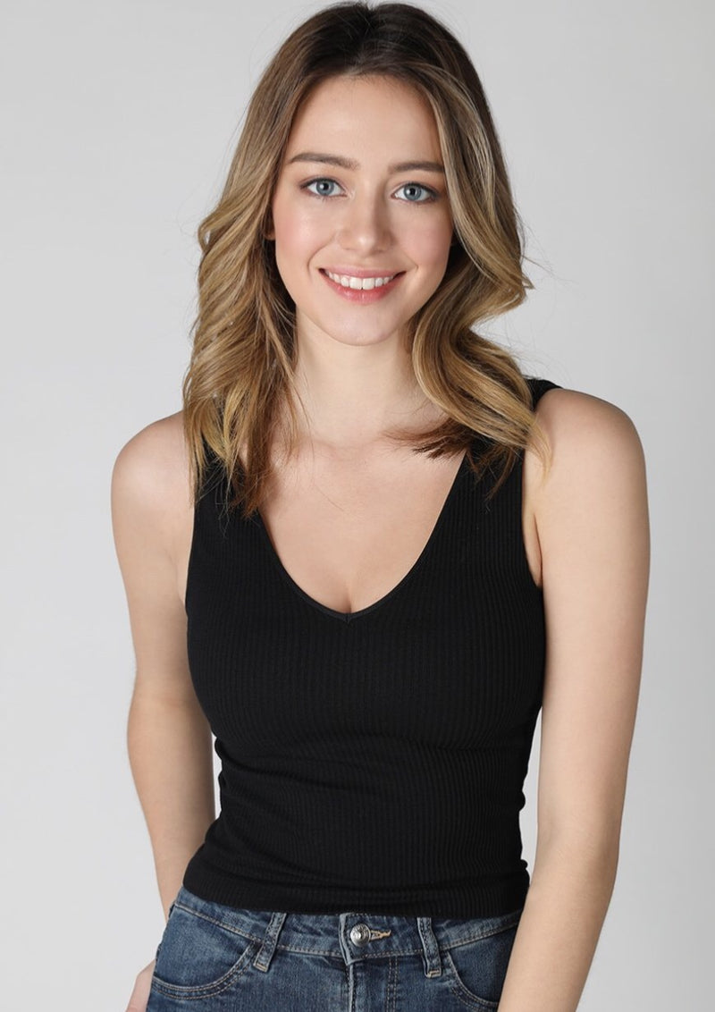 Victoria V-Neck Crop Tank (Black)