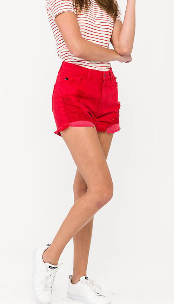 Ruby Red High Rise Shorts