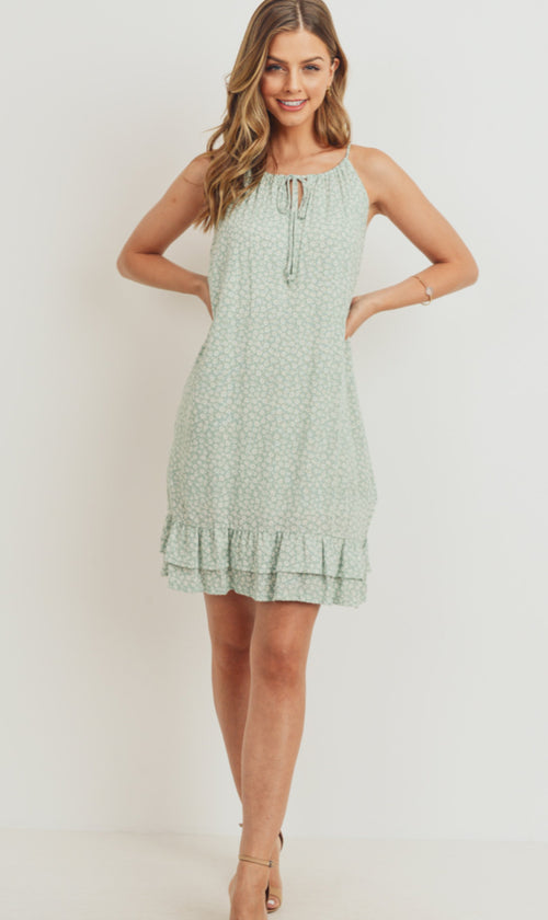 Green Hills Woven Sleeve Less Dress