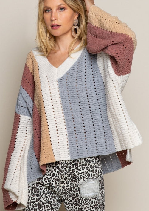 womens striped oversized sweater