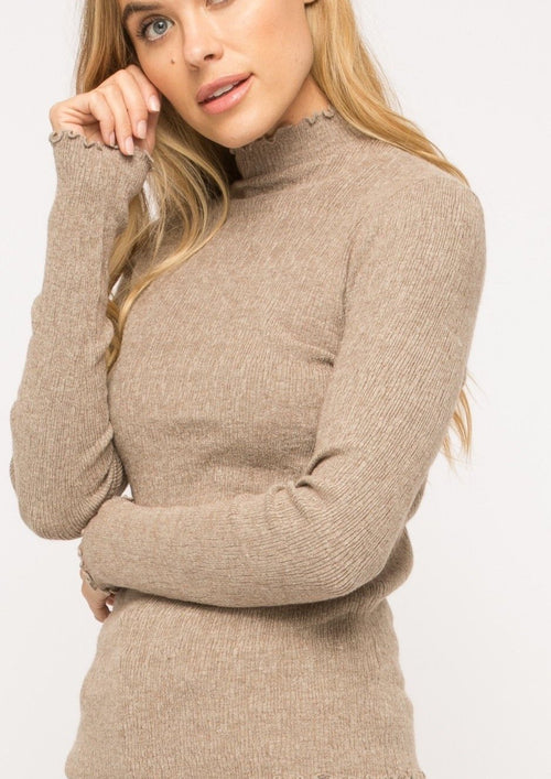 mock neck sweater with ruffle detail