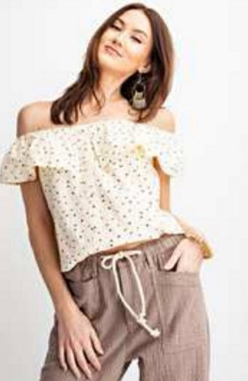 Off Shoulder Printed Gauze Top with Button Detail