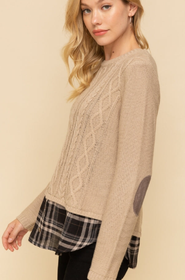 Cable Sweater with Plaid Detail