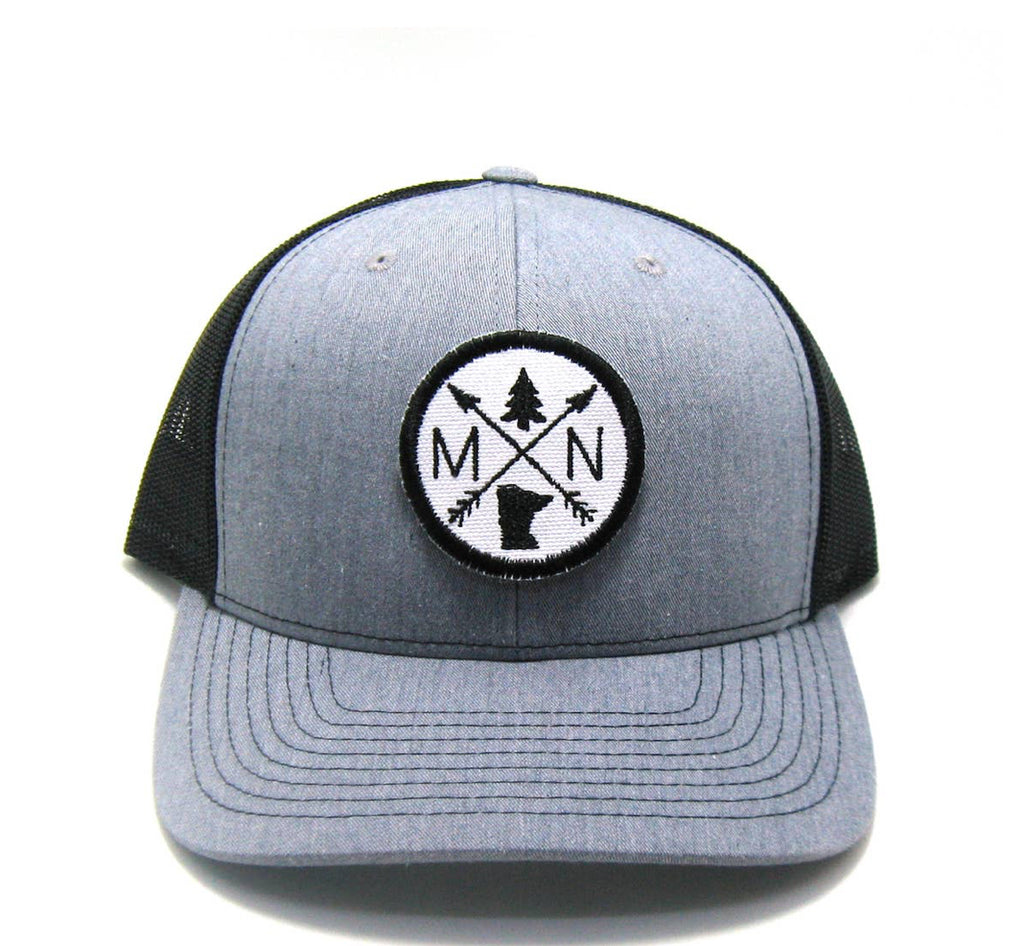 MN Trucker Hat -  distressed/snapback - MN Patched Arrow Compass
