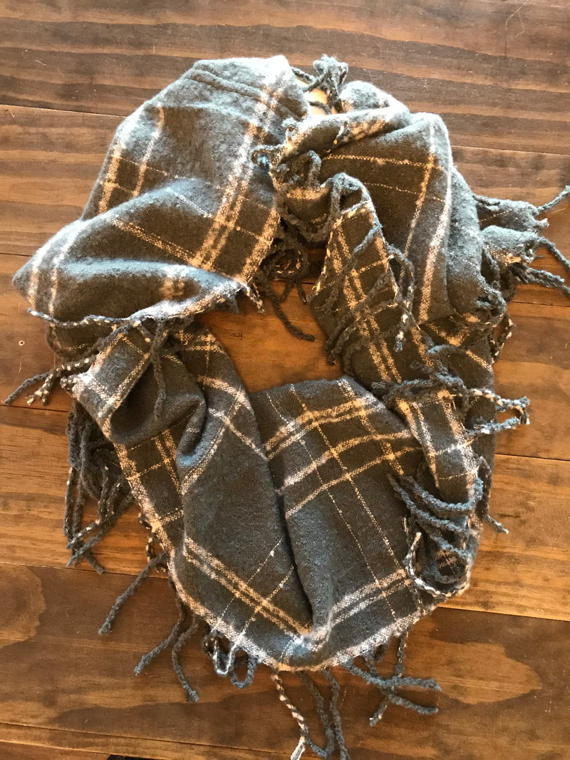 Scarf - Soft Gray and White Plaid Infinity w/Fringe