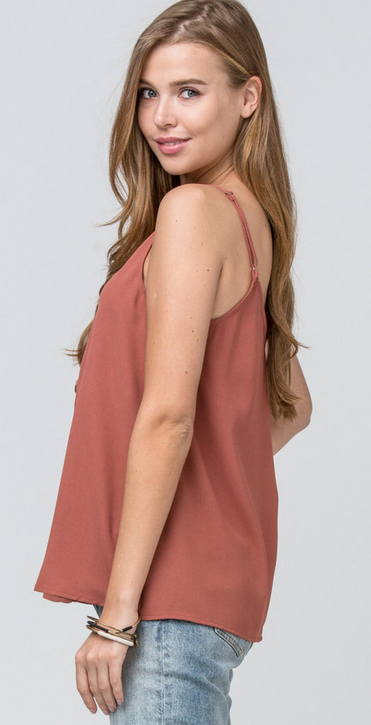 Button Up Basic Salmon Tank Top