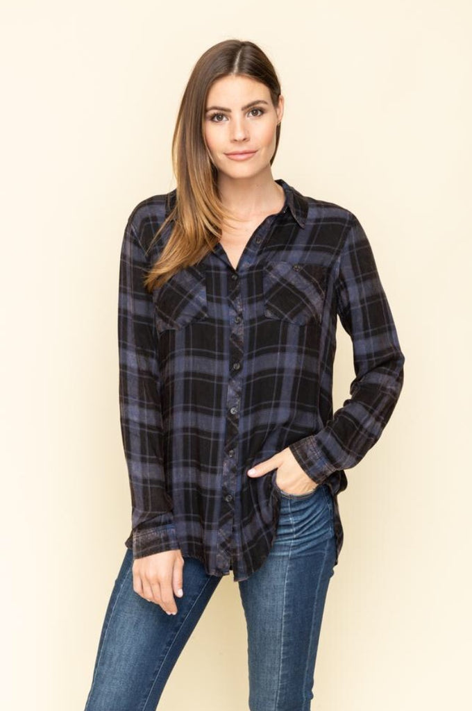 Garment Wash Plaid Shirt