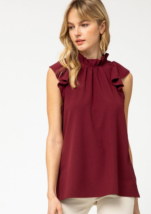 Burgundy high neck blouse