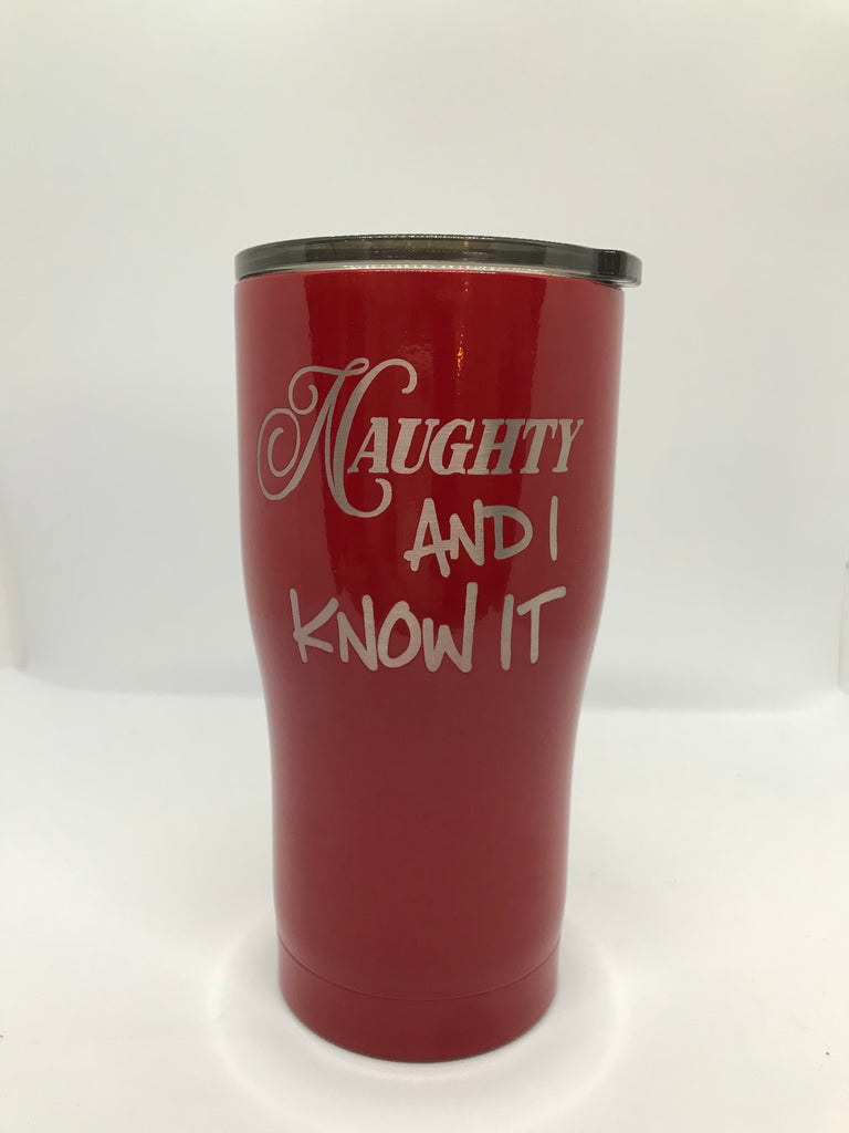 Naughty and I Know it Red Travel Mug