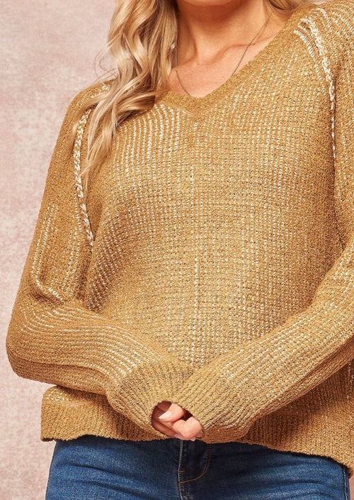 V NeckSweater with Exposed Seam Detailing