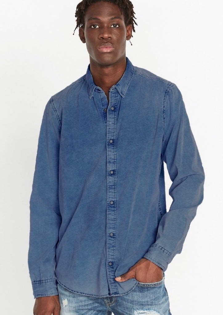 Light Indigo Classic Corduroy Long Sleeve Shirt
