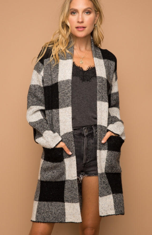 Plaid Black/White Open Cardigan