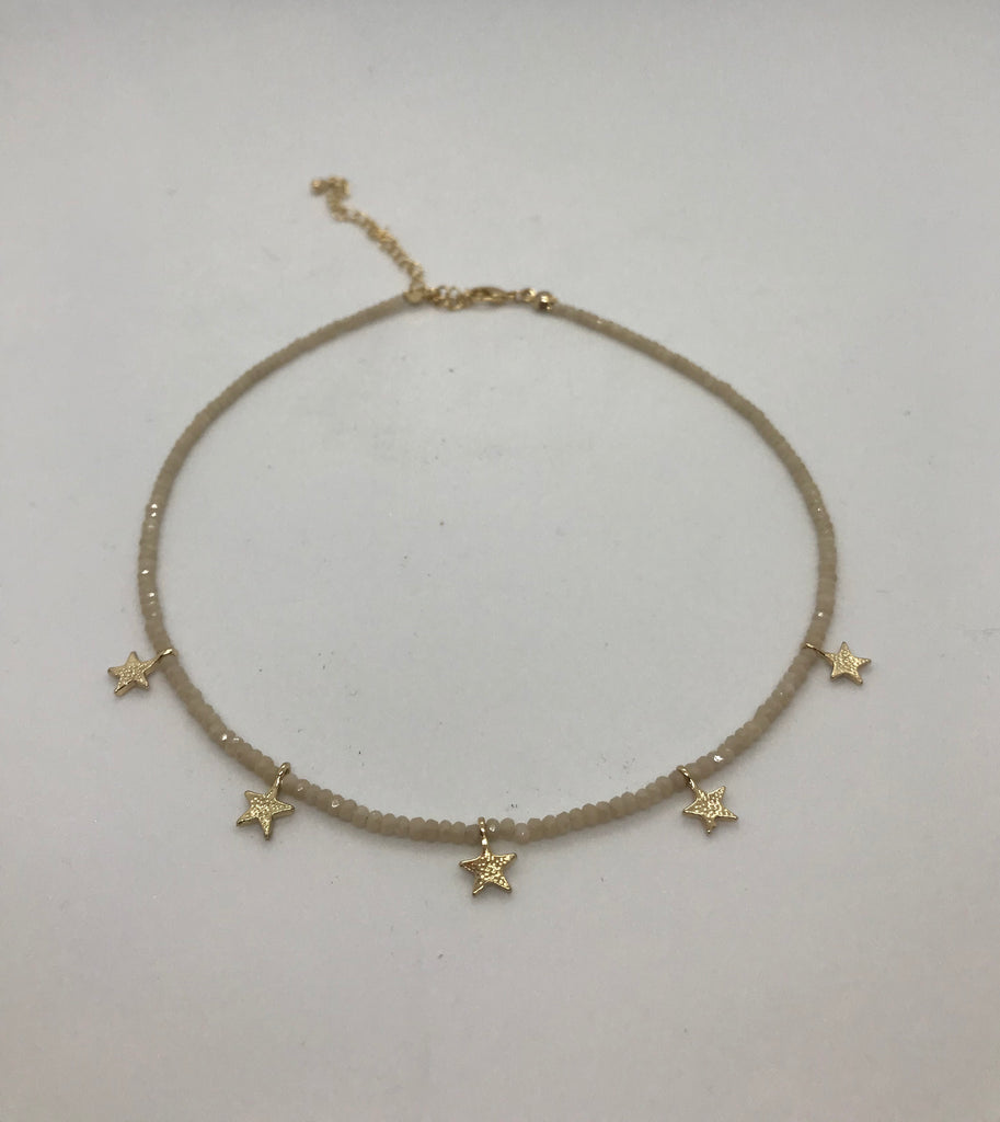 Beaded Choker Style Necklace With Stars