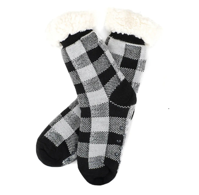 Women's Sherpa Buffalo Plaid Slipper Socks