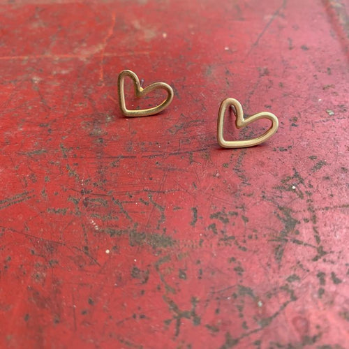 Open Heart Brass Boho Stud Earrings