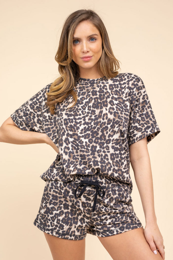 Leopard Print Top with Short Dolman Sleeves