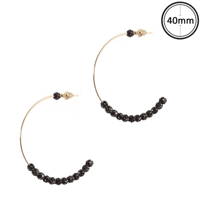 "Gold Hoop with Black Pave Beaded 2"" Earring"
