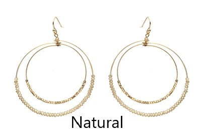Gold and Crystal Double Hoop Earrings