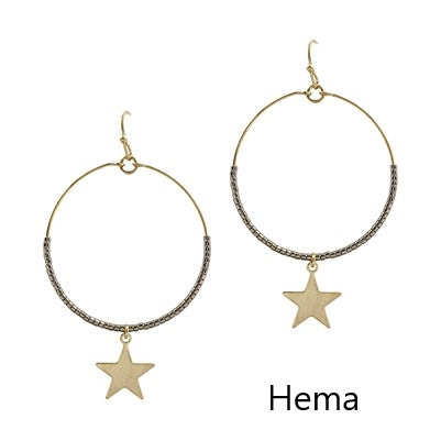 Gold Beaded Star Drop Earring
