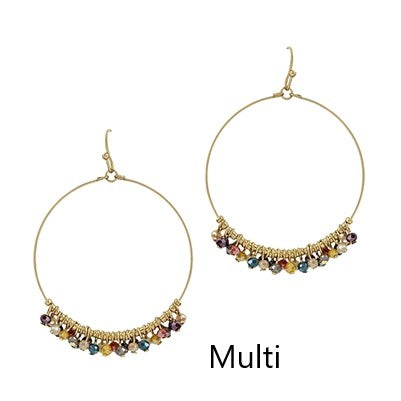 Gold Hoop Earrings with Crystals