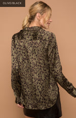 Lustful in Leopard Satin Shirt