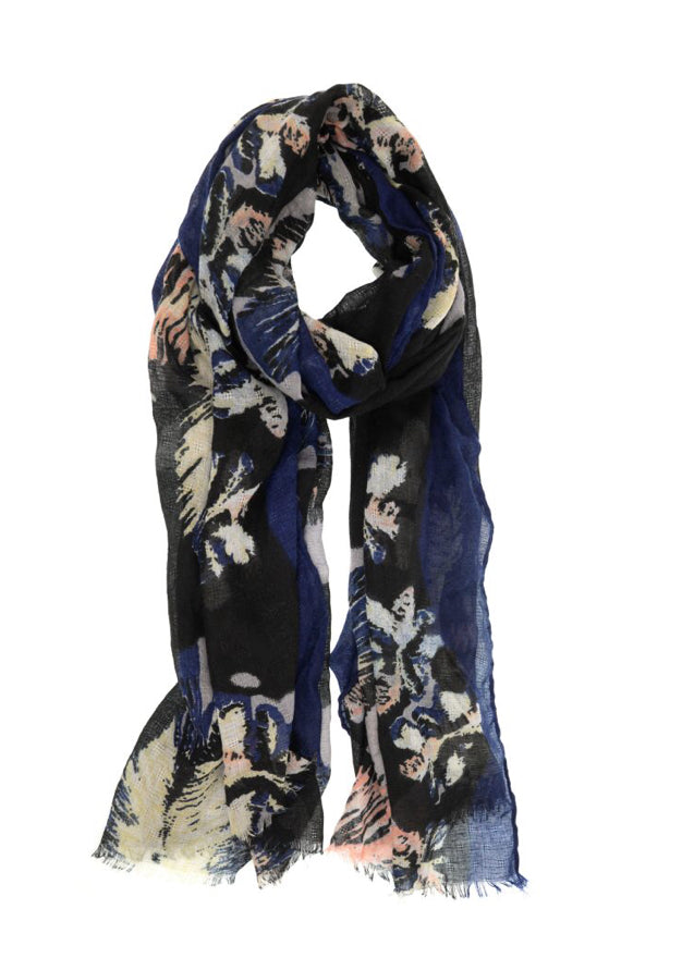 Navy Feathery Bloom Scarf