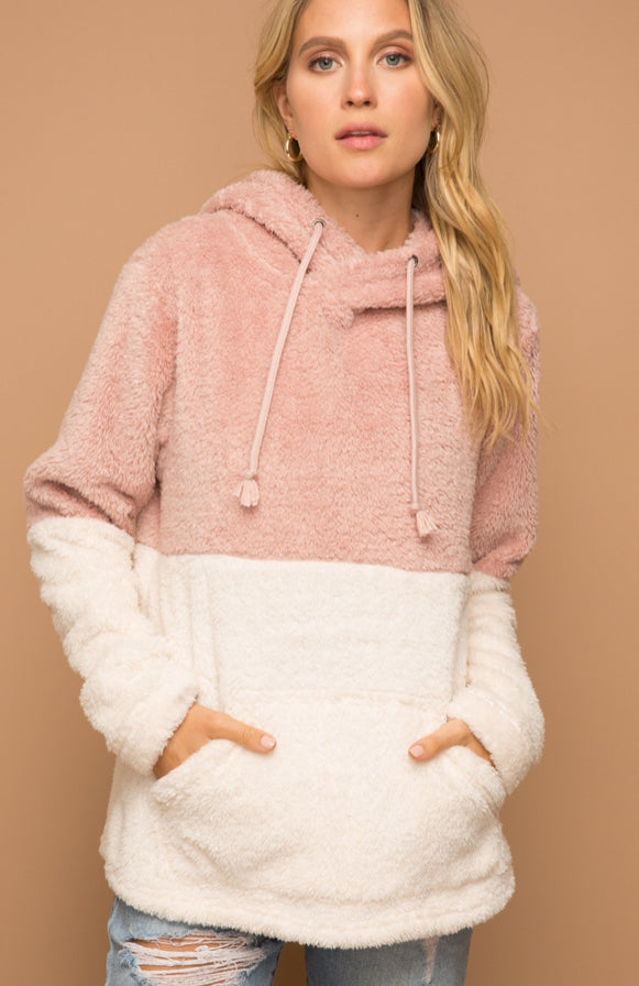 Fuzzy Pink and Cream Pullover