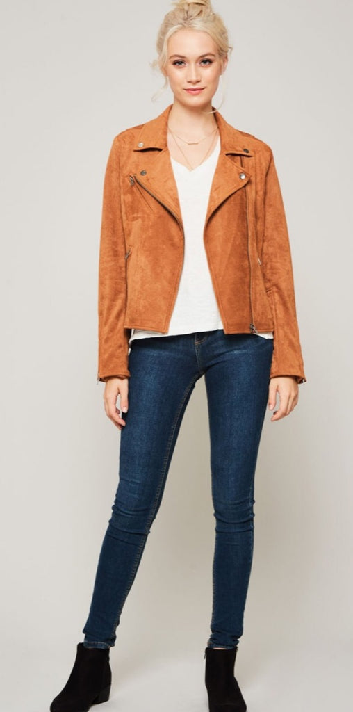 Faux Suede Motto Jacket W/ Off-Center Front Zipper