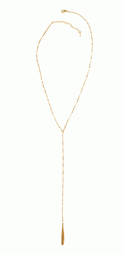 Delicate Teardrop Lariat Necklace