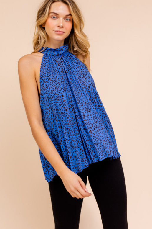 Halterneck Leopard Pleated Top